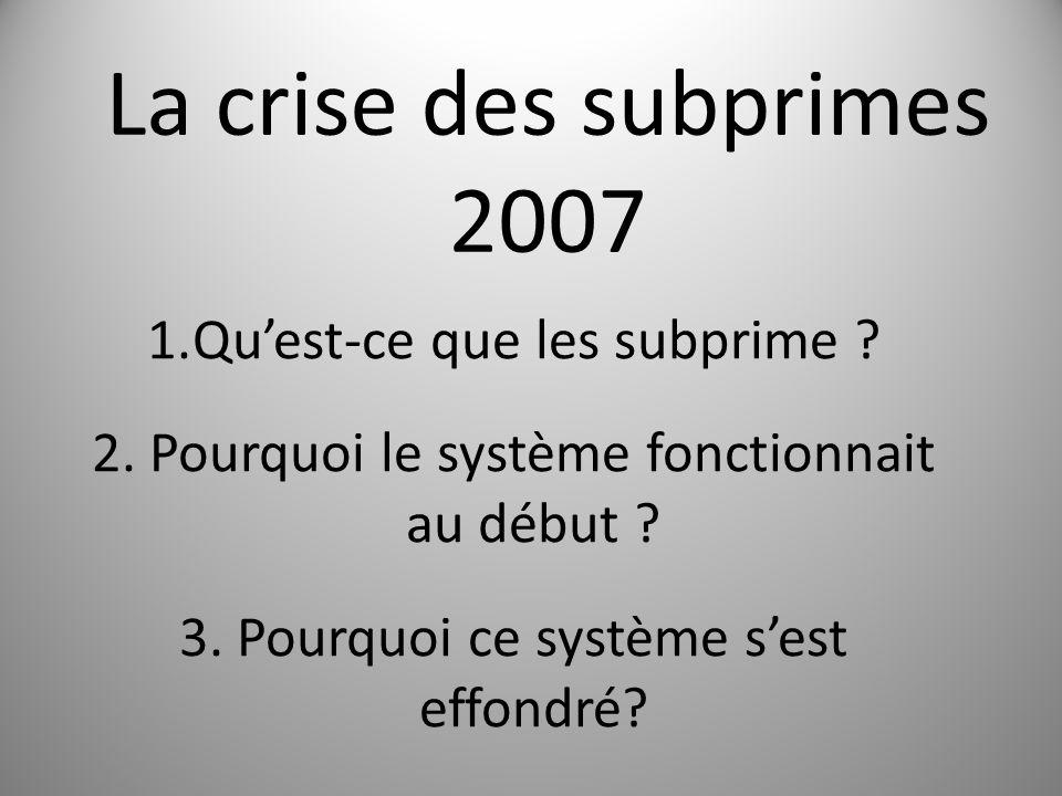 La crise des subprimes 2007 1.Quest-ce que les subprime .