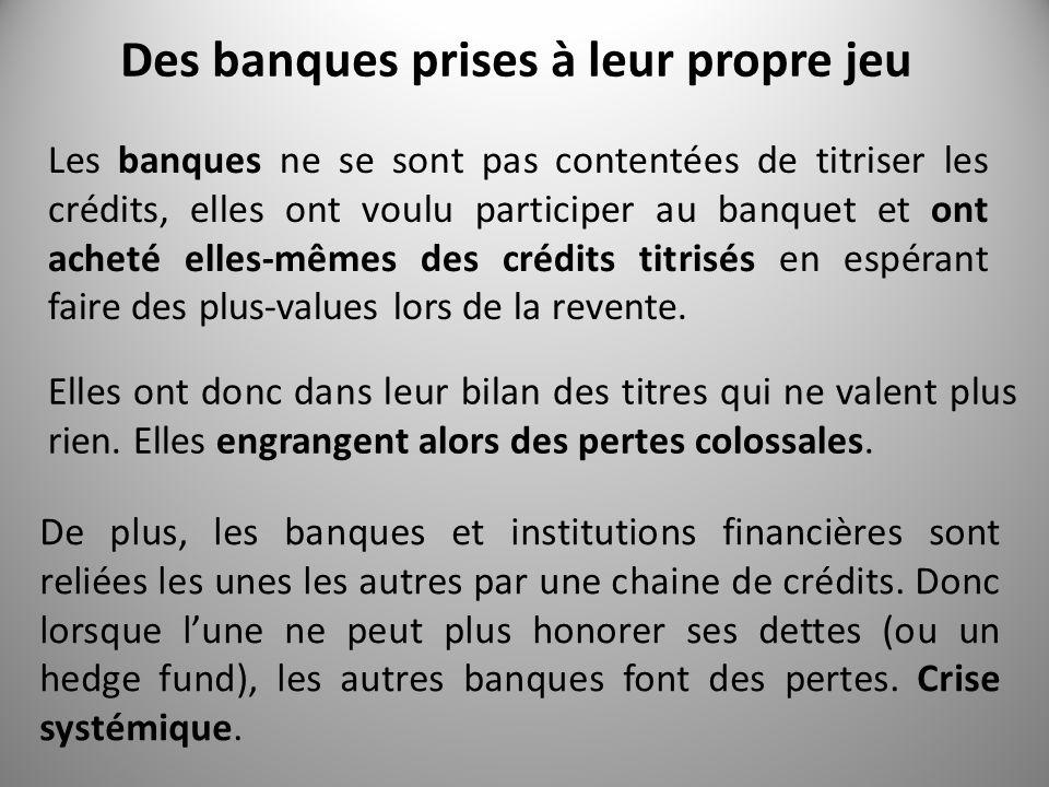 Des banques prises à leur propre jeu Les banques ne se sont pas contentées de titriser les crédits, elles ont voulu participer au banquet et ont acheté elles-mêmes des crédits titrisés en espérant faire des plus-values lors de la revente.