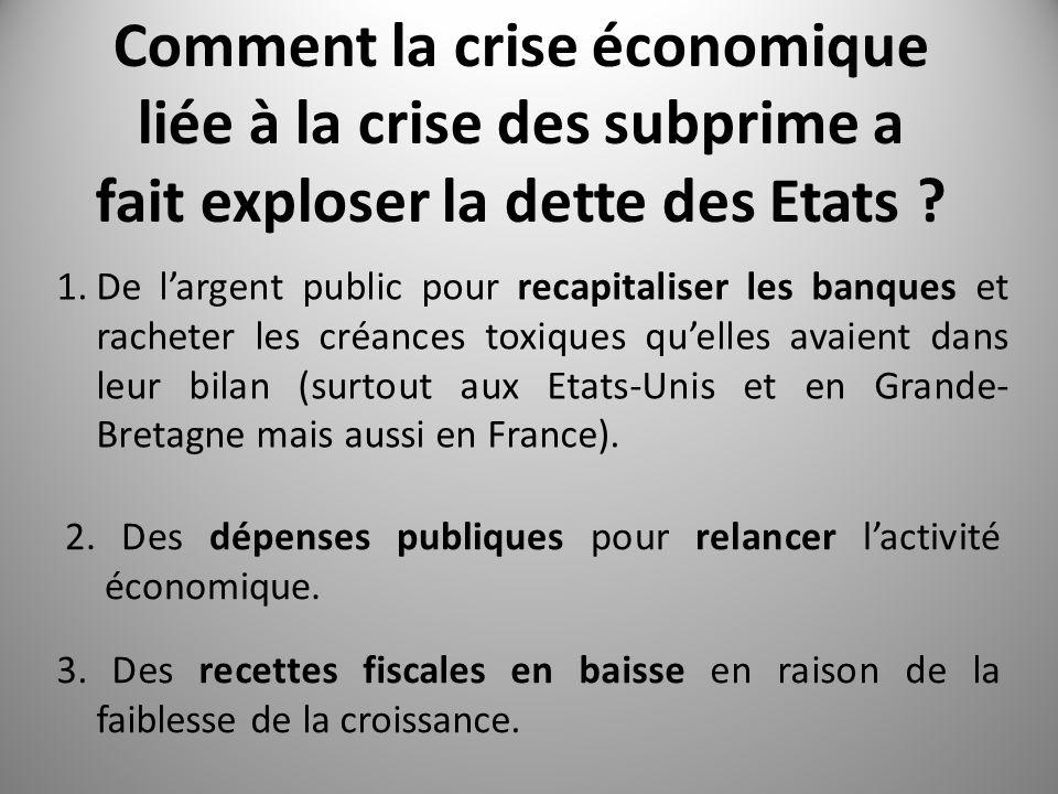 Comment la crise économique liée à la crise des subprime a fait exploser la dette des Etats .