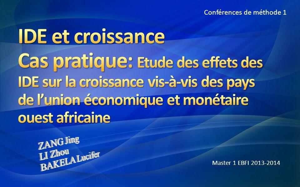 Conférences de méthode 1 Master 1 EBFI 2013-2014