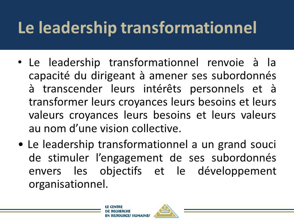 Le leadership transformationnel Le leadership transformationnel renvoie à la capacité du dirigeant à amener ses subordonnés à transcender leurs intérêts personnels et à transformer leurs croyances leurs besoins et leurs valeurs croyances leurs besoins et leurs valeurs au nom dune vision collective.