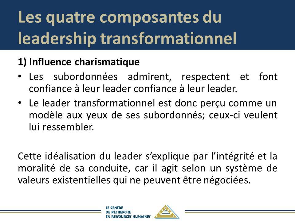 Les quatre composantes du leadership transformationnel 1) Influence charismatique Les subordonnées admirent, respectent et font confiance à leur leade