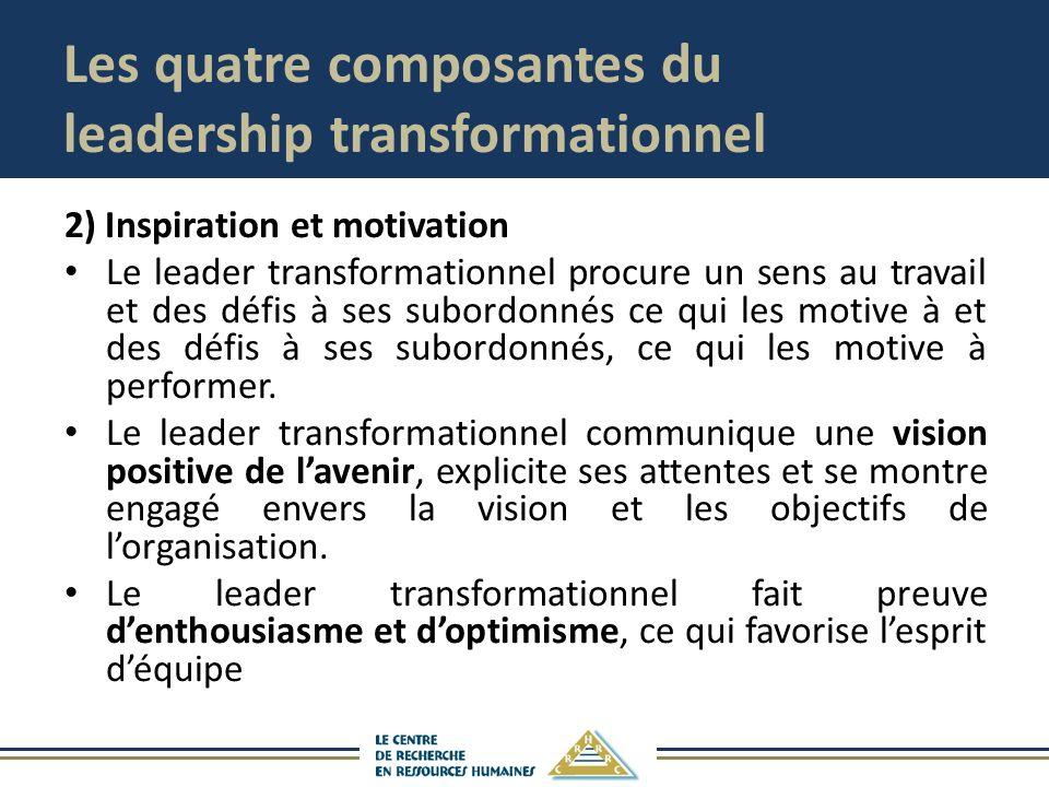 Les quatre composantes du leadership transformationnel 2) Inspiration et motivation Le leader transformationnel procure un sens au travail et des défis à ses subordonnés ce qui les motive à et des défis à ses subordonnés, ce qui les motive à performer.