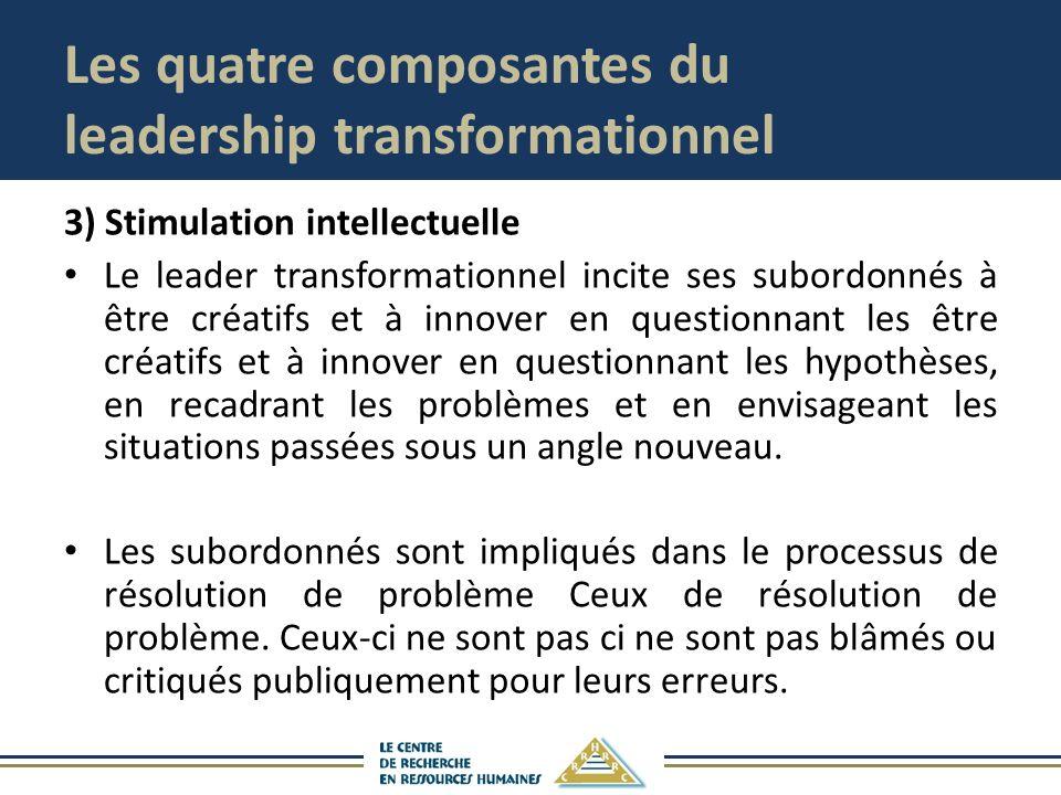 Les quatre composantes du leadership transformationnel 3) Stimulation intellectuelle Le leader transformationnel incite ses subordonnés à être créatif