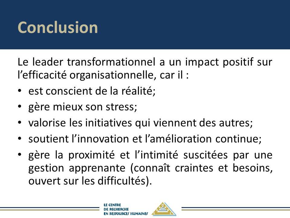 Conclusion Le leader transformationnel a un impact positif sur lefficacité organisationnelle, car il : est conscient de la réalité; gère mieux son str