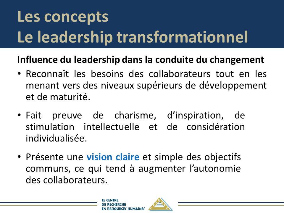 Les concepts Le leadership transformationnel Influence du leadership dans la conduite du changement Reconnaît les besoins des collaborateurs tout en les menant vers des niveaux supérieurs de développement et de maturité.