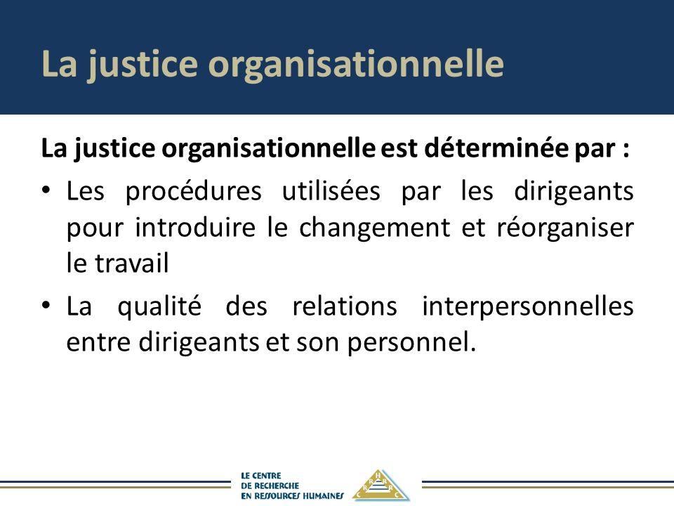 La justice organisationnelle La justice organisationnelle est déterminée par : Les procédures utilisées par les dirigeants pour introduire le changement et réorganiser le travail La qualité des relations interpersonnelles entre dirigeants et son personnel.