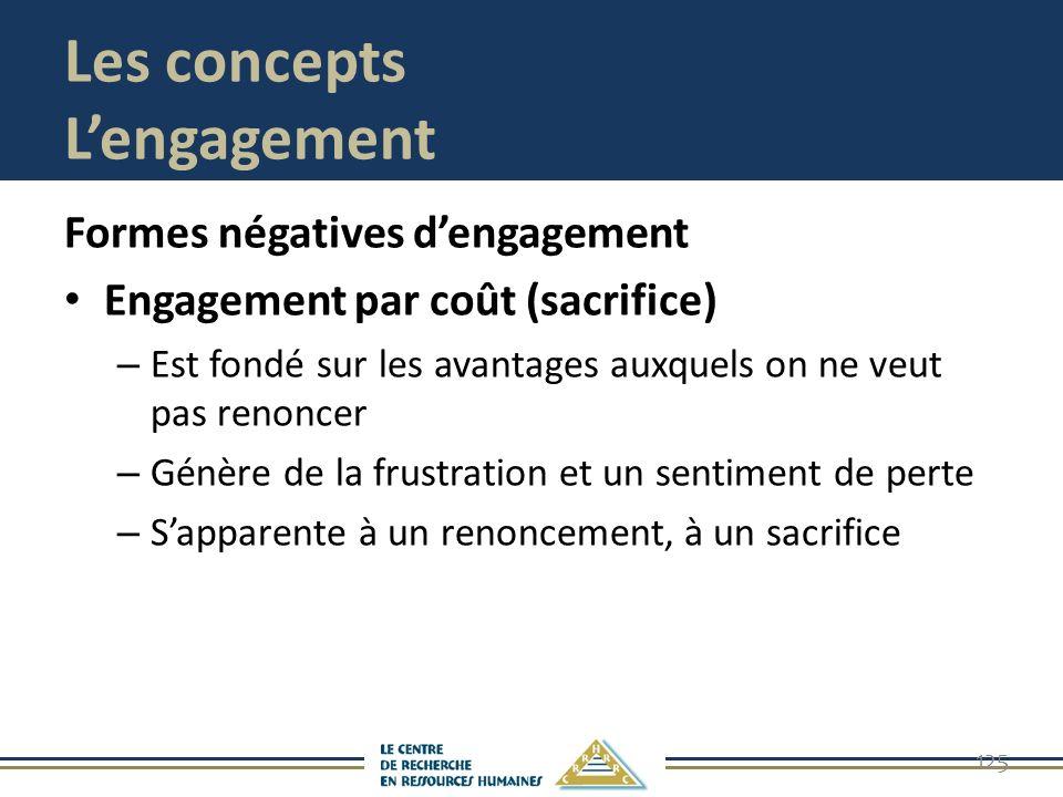 Les concepts Lengagement Formes négatives dengagement Engagement par coût (sacrifice) – Est fondé sur les avantages auxquels on ne veut pas renoncer –