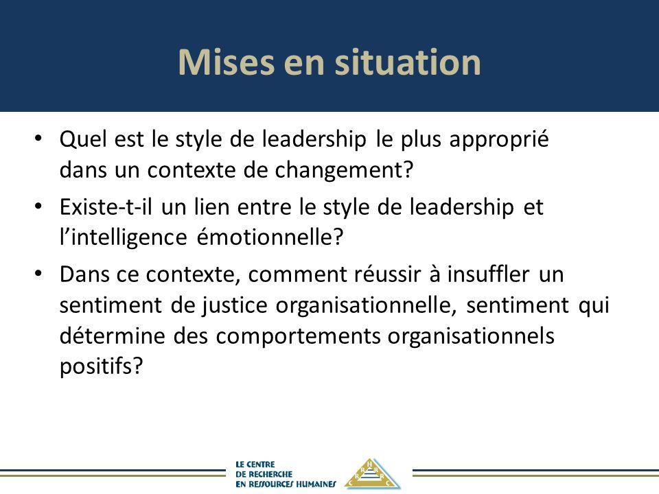 Mises en situation Quel est le style de leadership le plus approprié dans un contexte de changement? Existe-t-il un lien entre le style de leadership