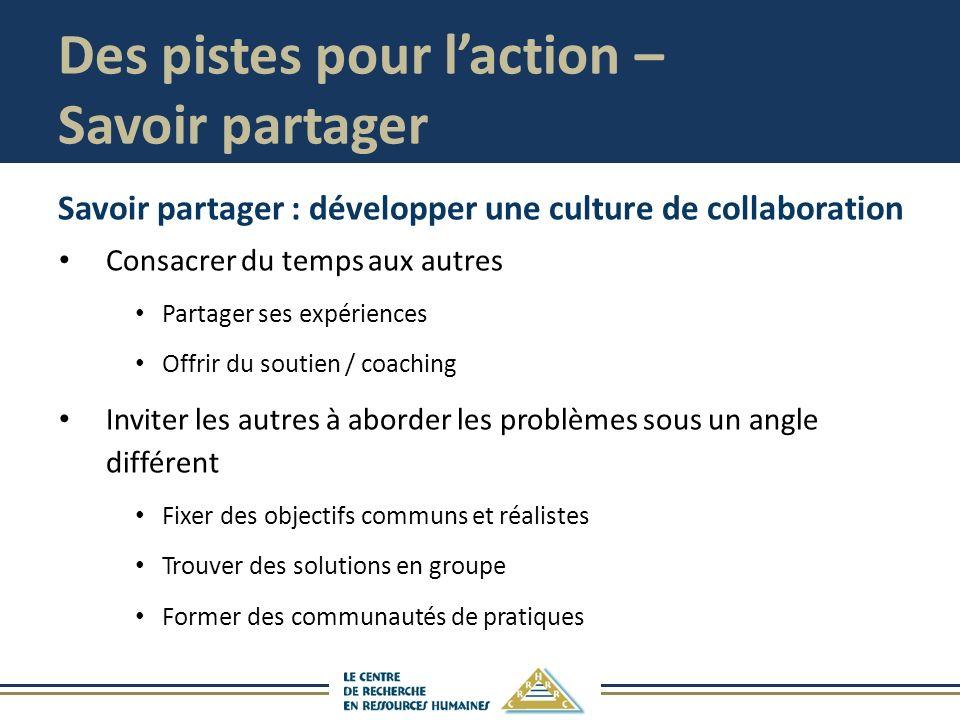 Des pistes pour laction – Savoir partager Savoir partager : développer une culture de collaboration Consacrer du temps aux autres Partager ses expérie