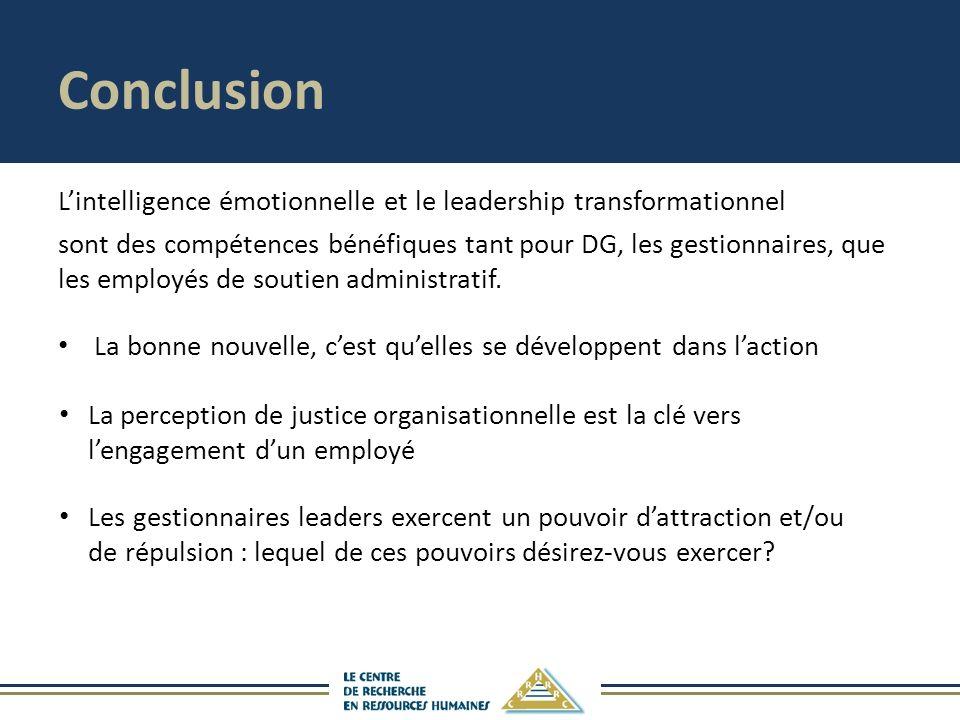 Conclusion Lintelligence émotionnelle et le leadership transformationnel sont des compétences bénéfiques tant pour DG, les gestionnaires, que les employés de soutien administratif.