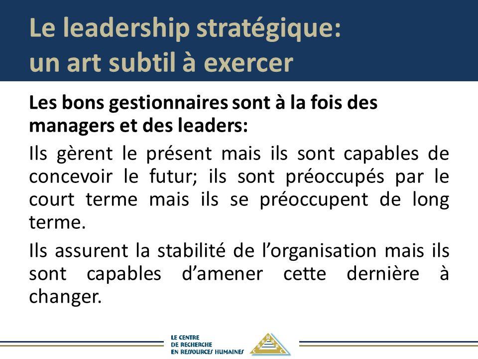 Le leadership stratégique: un art subtil à exercer Les bons gestionnaires sont à la fois des managers et des leaders: Ils gèrent le présent mais ils sont capables de concevoir le futur; ils sont préoccupés par le court terme mais ils se préoccupent de long terme.