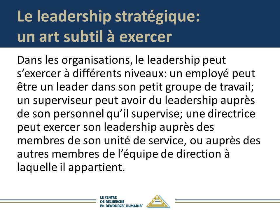 Le leadership stratégique: un art subtil à exercer Dans les organisations, le leadership peut sexercer à différents niveaux: un employé peut être un l