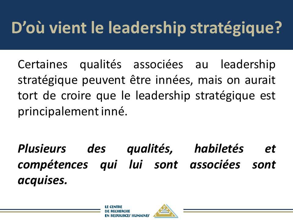 Doù vient le leadership stratégique? Certaines qualités associées au leadership stratégique peuvent être innées, mais on aurait tort de croire que le