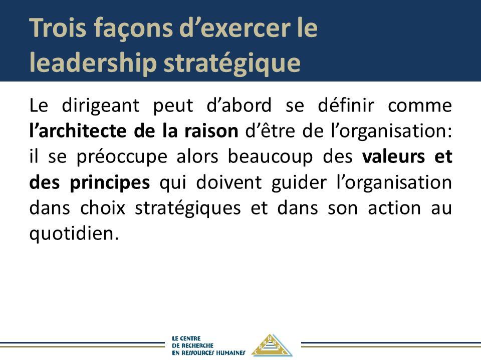 Trois façons dexercer le leadership stratégique Le dirigeant peut dabord se définir comme larchitecte de la raison dêtre de lorganisation: il se préoc