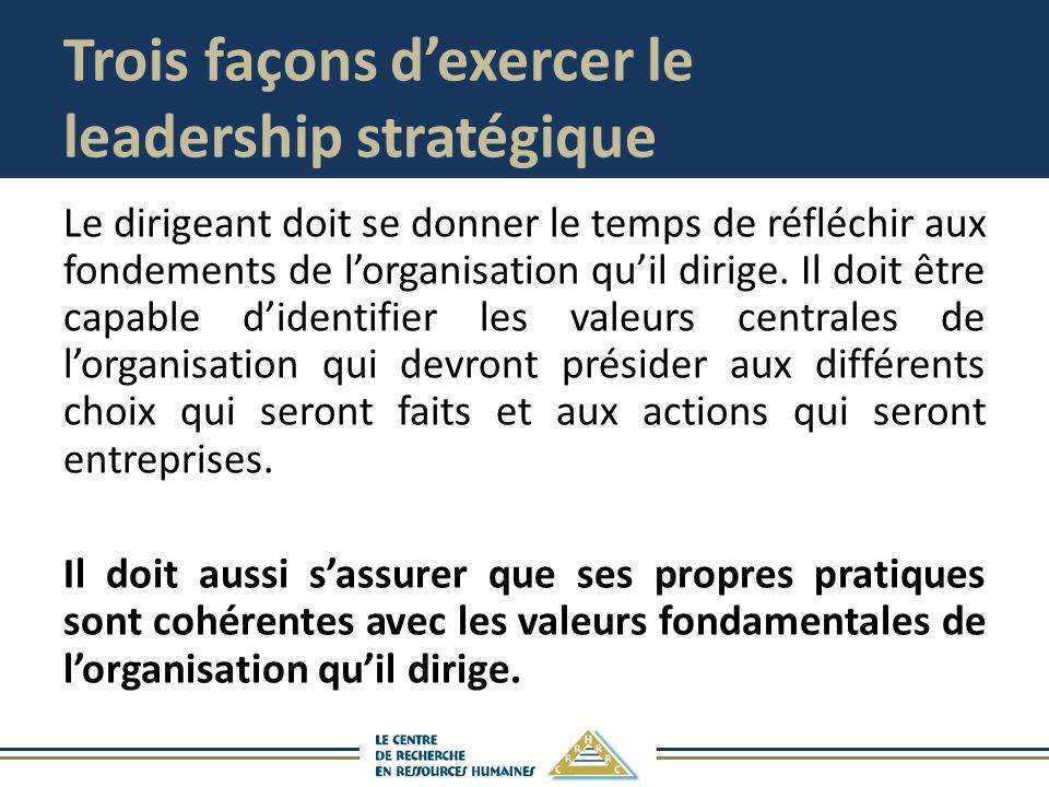Trois façons dexercer le leadership stratégique Le dirigeant doit se donner le temps de réfléchir aux fondements de lorganisation quil dirige. Il doit