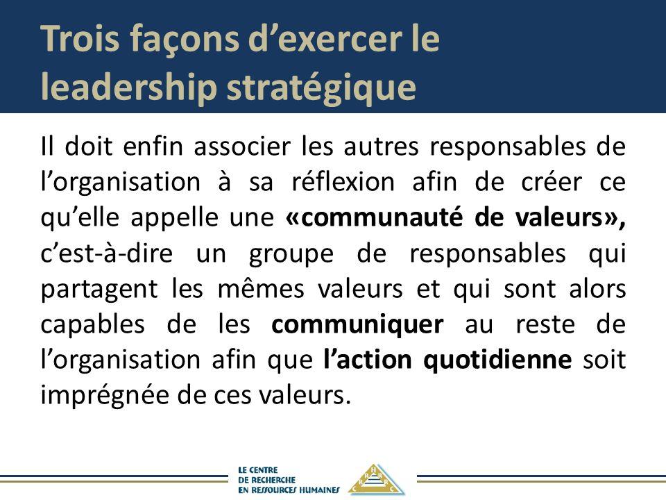 Trois façons dexercer le leadership stratégique Il doit enfin associer les autres responsables de lorganisation à sa réflexion afin de créer ce quelle