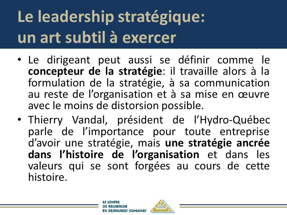 Le leadership stratégique: un art subtil à exercer Le dirigeant peut aussi se définir comme le concepteur de la stratégie: il travaille alors à la formulation de la stratégie, à sa communication au reste de lorganisation et à sa mise en œuvre avec le moins de distorsion possible.