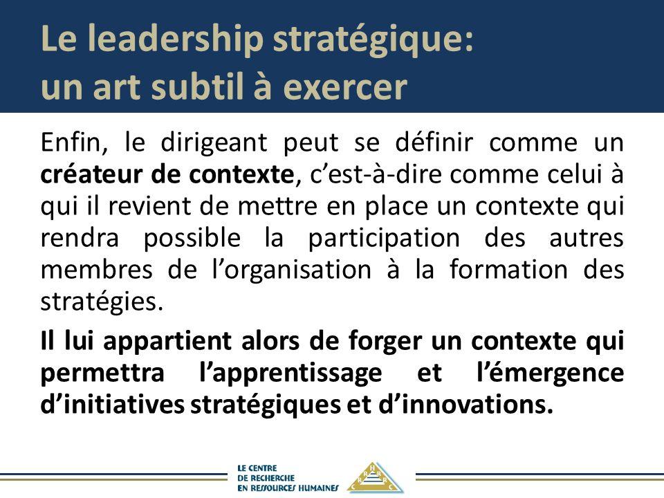 Le leadership stratégique: un art subtil à exercer Enfin, le dirigeant peut se définir comme un créateur de contexte, cest-à-dire comme celui à qui il