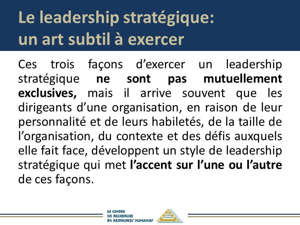 Le leadership stratégique: un art subtil à exercer Ces trois façons dexercer un leadership stratégique ne sont pas mutuellement exclusives, mais il ar