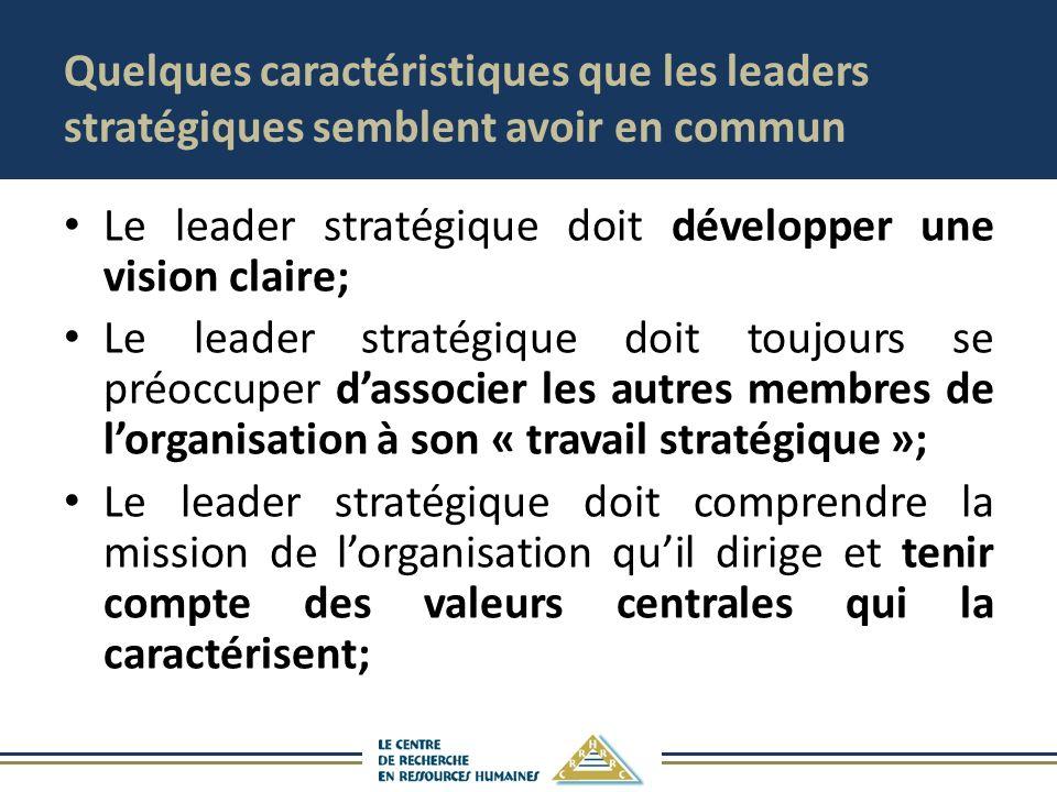Quelques caractéristiques que les leaders stratégiques semblent avoir en commun Le leader stratégique doit développer une vision claire; Le leader stratégique doit toujours se préoccuper dassocier les autres membres de lorganisation à son « travail stratégique »; Le leader stratégique doit comprendre la mission de lorganisation quil dirige et tenir compte des valeurs centrales qui la caractérisent;