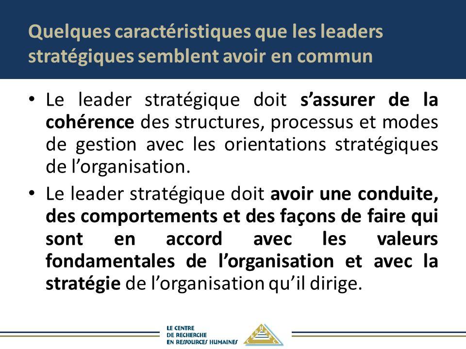 Quelques caractéristiques que les leaders stratégiques semblent avoir en commun Le leader stratégique doit sassurer de la cohérence des structures, processus et modes de gestion avec les orientations stratégiques de lorganisation.