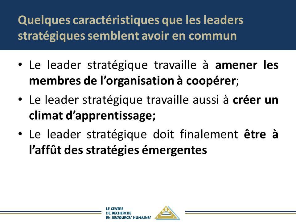 Quelques caractéristiques que les leaders stratégiques semblent avoir en commun Le leader stratégique travaille à amener les membres de lorganisation à coopérer; Le leader stratégique travaille aussi à créer un climat dapprentissage; Le leader stratégique doit finalement être à laffût des stratégies émergentes
