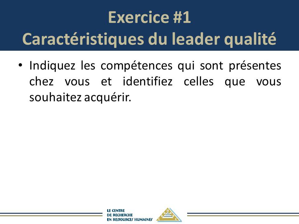 Exercice #1 Caractéristiques du leader qualité Indiquez les compétences qui sont présentes chez vous et identifiez celles que vous souhaitez acquérir.