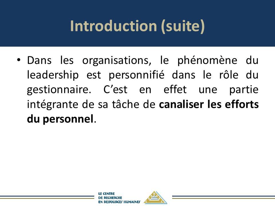 Introduction (suite) Dans les organisations, le phénomène du leadership est personnifié dans le rôle du gestionnaire. Cest en effet une partie intégra