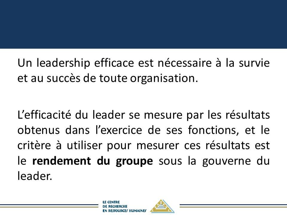 Un leadership efficace est nécessaire à la survie et au succès de toute organisation. Lefficacité du leader se mesure par les résultats obtenus dans l