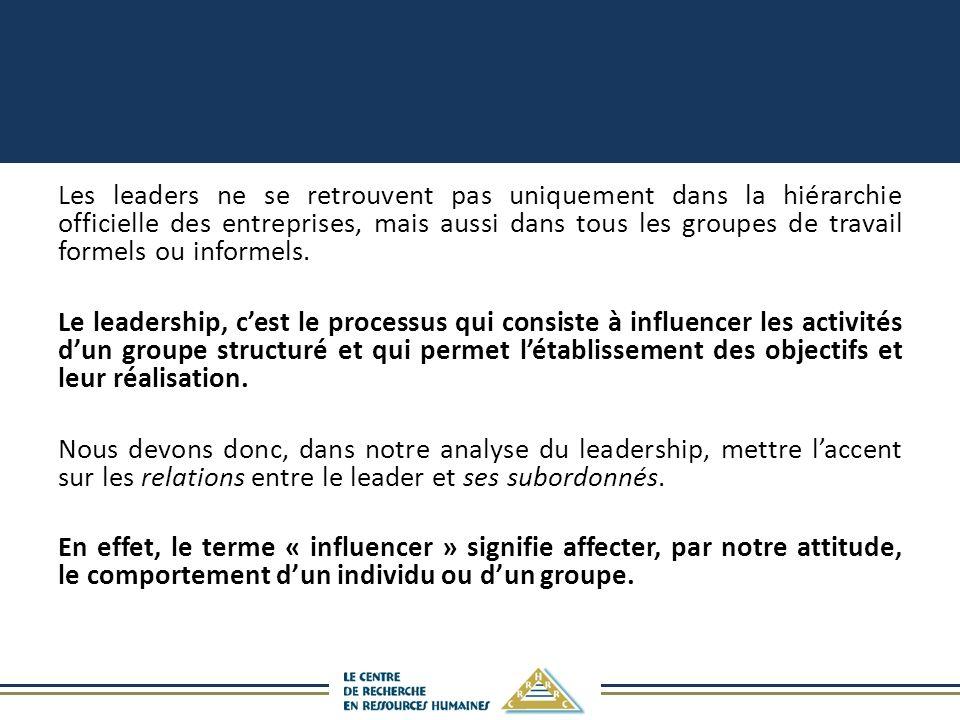 Les leaders ne se retrouvent pas uniquement dans la hiérarchie officielle des entreprises, mais aussi dans tous les groupes de travail formels ou info