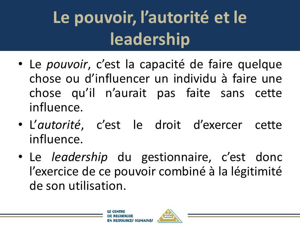 Le pouvoir, lautorité et le leadership Le pouvoir, cest la capacité de faire quelque chose ou dinfluencer un individu à faire une chose quil naurait pas faite sans cette influence.