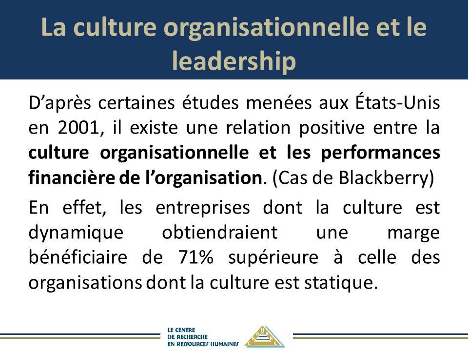 La culture organisationnelle et le leadership Daprès certaines études menées aux États-Unis en 2001, il existe une relation positive entre la culture organisationnelle et les performances financière de lorganisation.