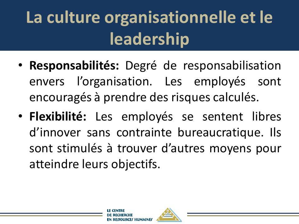 La culture organisationnelle et le leadership Responsabilités: Degré de responsabilisation envers lorganisation. Les employés sont encouragés à prendr