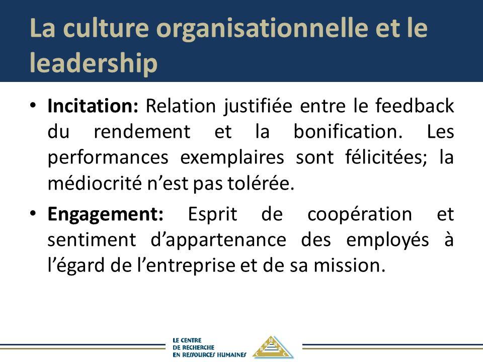 La culture organisationnelle et le leadership Incitation: Relation justifiée entre le feedback du rendement et la bonification. Les performances exemp