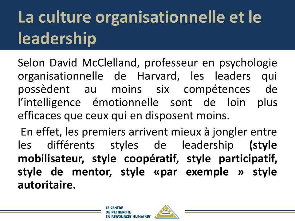 La culture organisationnelle et le leadership Selon David McClelland, professeur en psychologie organisationnelle de Harvard, les leaders qui possèdent au moins six compétences de lintelligence émotionnelle sont de loin plus efficaces que ceux qui en disposent moins.