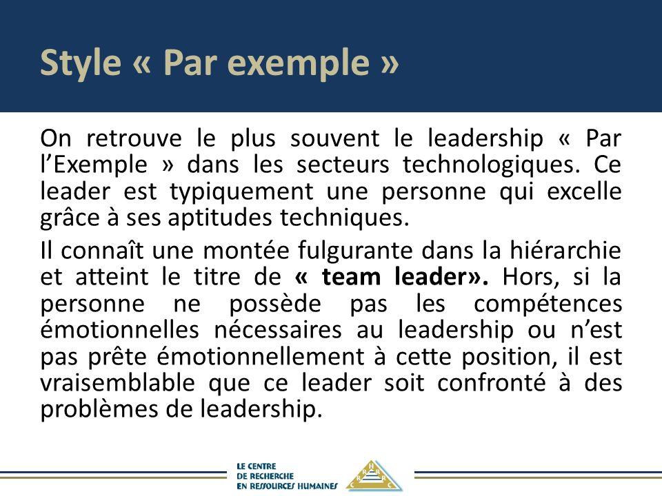Style « Par exemple » On retrouve le plus souvent le leadership « Par lExemple » dans les secteurs technologiques. Ce leader est typiquement une perso
