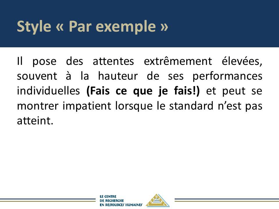 Style « Par exemple » Il pose des attentes extrêmement élevées, souvent à la hauteur de ses performances individuelles (Fais ce que je fais!) et peut