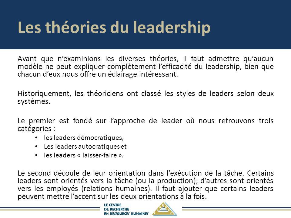 Les théories du leadership Avant que nexaminions les diverses théories, il faut admettre quaucun modèle ne peut expliquer complètement lefficacité du leadership, bien que chacun deux nous offre un éclairage intéressant.