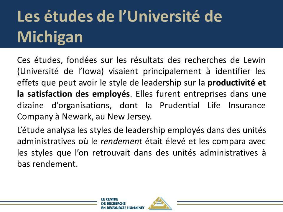 Les études de lUniversité de Michigan Ces études, fondées sur les résultats des recherches de Lewin (Université de lIowa) visaient principalement à identifier les effets que peut avoir le style de leadership sur la productivité et la satisfaction des employés.