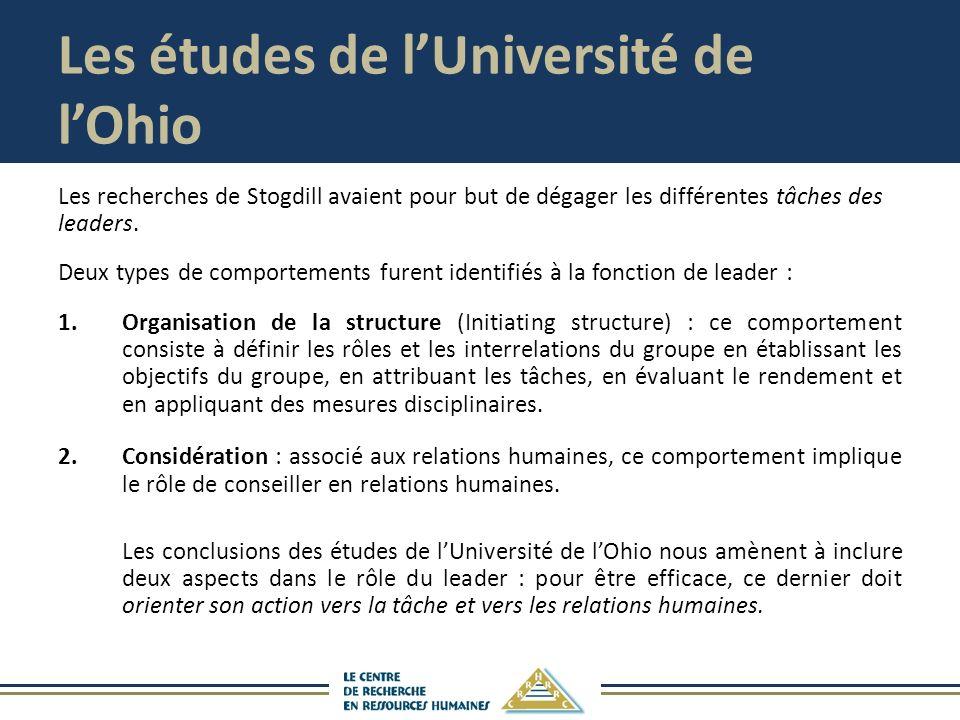 Les études de lUniversité de lOhio Les recherches de Stogdill avaient pour but de dégager les différentes tâches des leaders. Deux types de comporteme