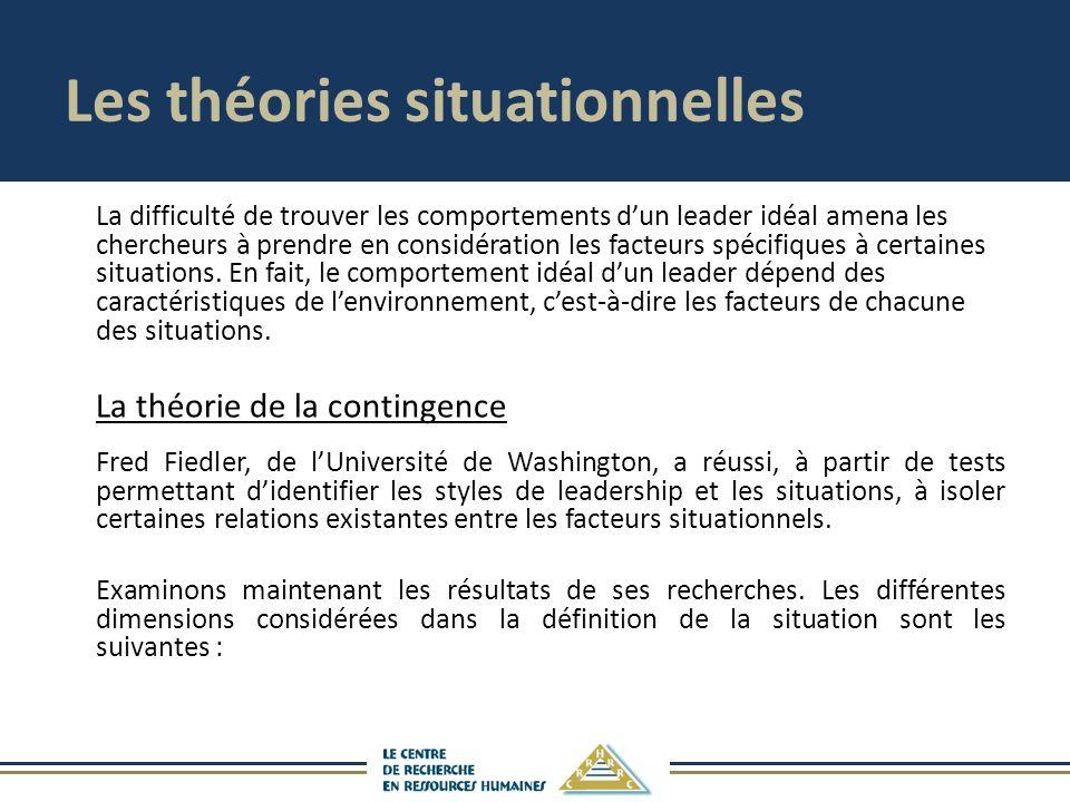 Les théories situationnelles La difficulté de trouver les comportements dun leader idéal amena les chercheurs à prendre en considération les facteurs spécifiques à certaines situations.