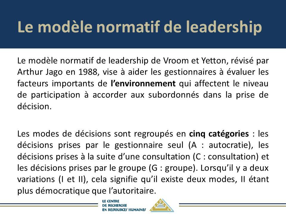 Le modèle normatif de leadership Le modèle normatif de leadership de Vroom et Yetton, révisé par Arthur Jago en 1988, vise à aider les gestionnaires à évaluer les facteurs importants de lenvironnement qui affectent le niveau de participation à accorder aux subordonnés dans la prise de décision.
