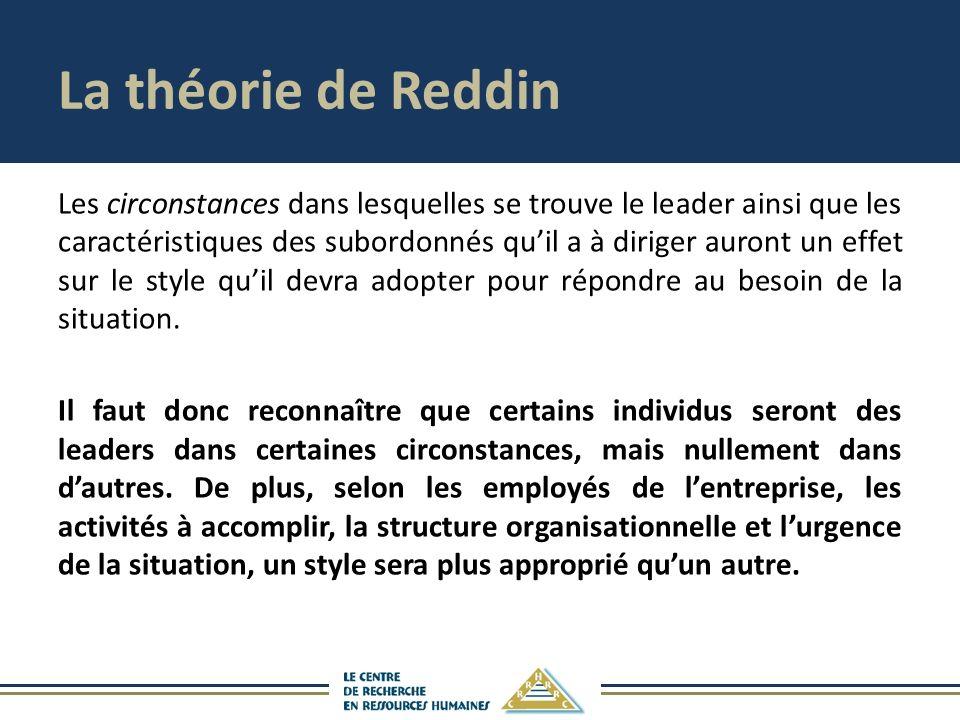 La théorie de Reddin Les circonstances dans lesquelles se trouve le leader ainsi que les caractéristiques des subordonnés quil a à diriger auront un effet sur le style quil devra adopter pour répondre au besoin de la situation.