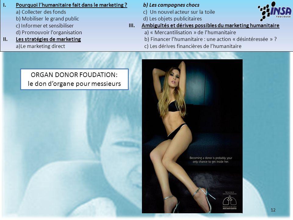 12 ORGAN DONOR FOUDATION: le don dorgane pour messieurs I.Pourquoi lhumanitaire fait dans le marketing ? a) Collecter des fonds b) Mobiliser le grand