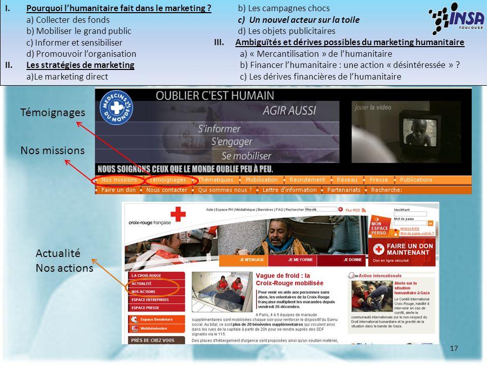 17 Témoignages Nos missions Actualité Nos actions I.Pourquoi lhumanitaire fait dans le marketing ? a) Collecter des fonds b) Mobiliser le grand public