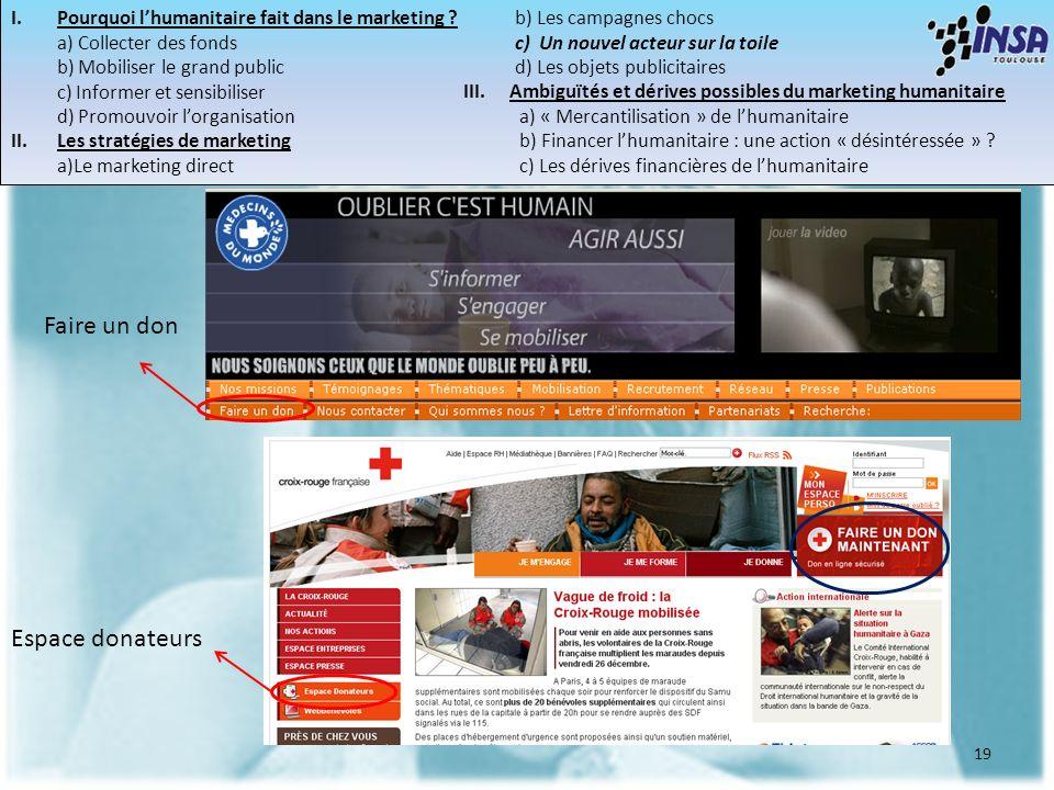 19 Faire un don Espace donateurs I.Pourquoi lhumanitaire fait dans le marketing ? a) Collecter des fonds b) Mobiliser le grand public c) Informer et s