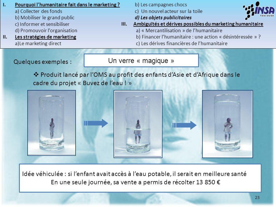 23 Un verre « magique » Quelques exemples : Produit lancé par lOMS au profit des enfants dAsie et dAfrique dans le cadre du projet « Buvez de leau ! »