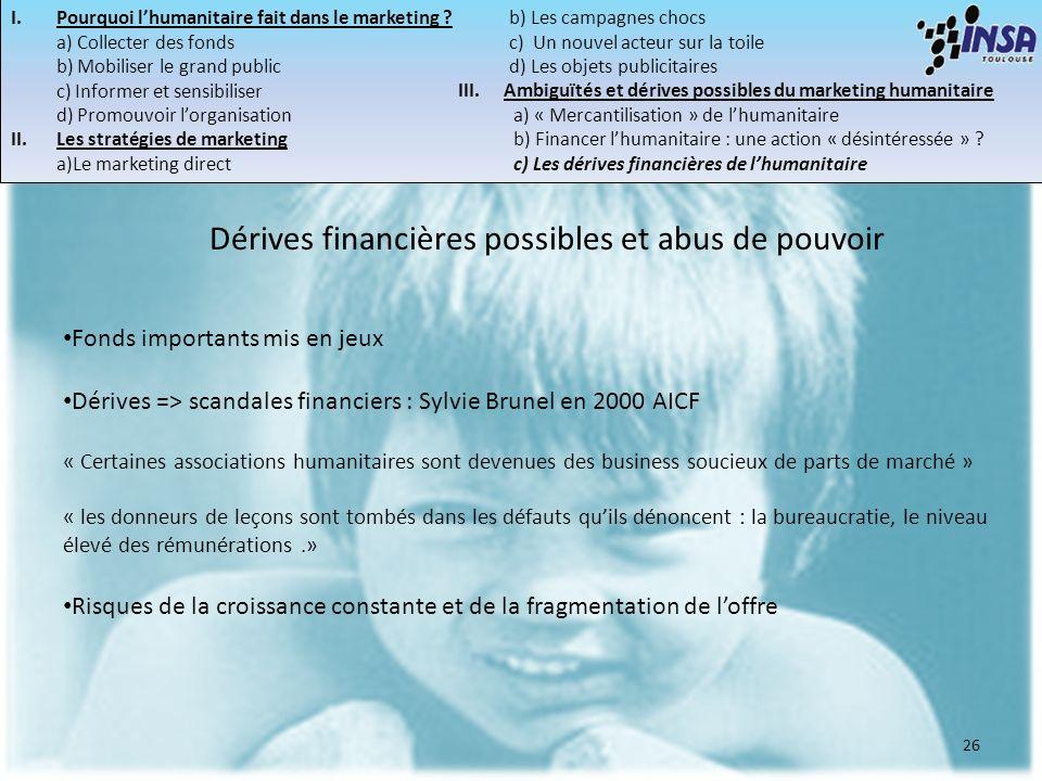 26 Dérives financières possibles et abus de pouvoir Fonds importants mis en jeux Dérives => scandales financiers : Sylvie Brunel en 2000 AICF « Certai