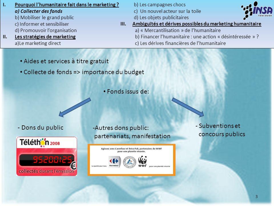3 I.Pourquoi lhumanitaire fait dans le marketing ? a) Collecter des fonds b) Mobiliser le grand public c) Informer et sensibiliser d) Promouvoir lorga